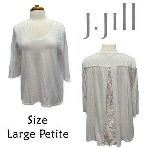 J. Jill White Hi Low Eyelet Back V-Neck Size LP